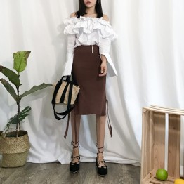 997 autumn solid color loose waist knitted wool skirt