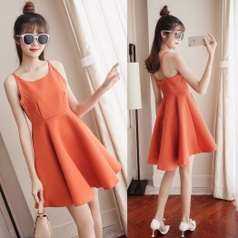 6229 Korean fashion sleeveless v neck  backless dress