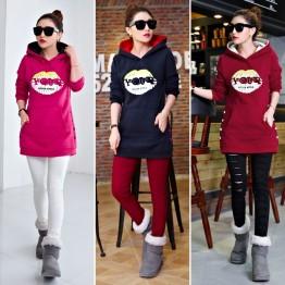 5337 thick woolen hooded warm long sweatshirt