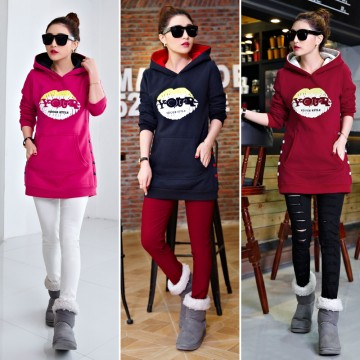5337 real shot thick plus cashmere long sweater with hat sweater long sweater student equipment