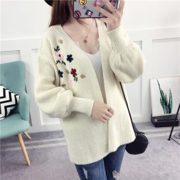 1079  lantern sleeves loose embroidery sweater