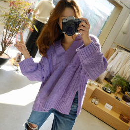340 # Korea fashion Spring and Autumn New V-neck knitting special loose sweater