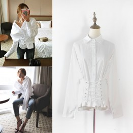 8089 new autumn chic sexy fashion lacing shirt