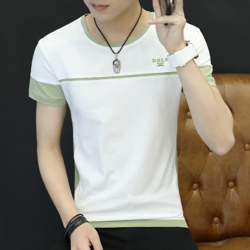 Summer new men's short-sleeved T-shirt round neck tonic striped cotton bottoming shirt half-sleeved men 1011