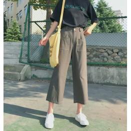 8261 pocket loose wide leg straight jeans