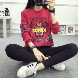2182 tiger head embroidery thickening warm sweatshirt