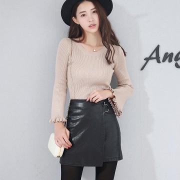 Black leather skirt half skirt 2017 early autumn high waist pack hip step skirt