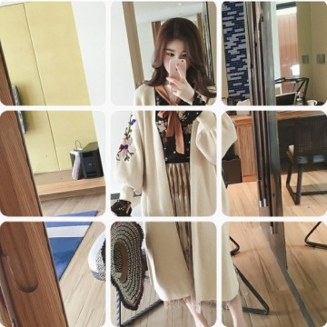 New casual personality embroidery loose large size sweater women long section long sleeve sweater cardigan jacket tide
