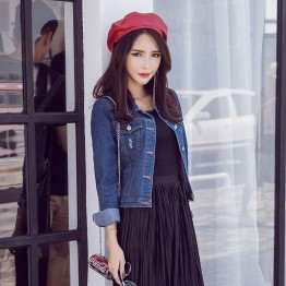 5556 spring Korean style long-sleeved slim short denim jacket