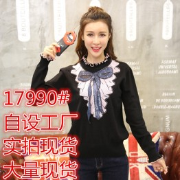 17990 half-collar slim bowknot knotted sweater