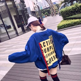 8027 ulzzang loose Harajuku students color matching couple baseball jacket