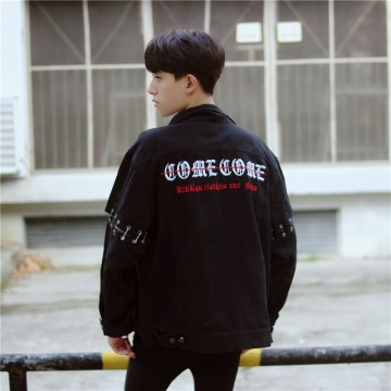 1416 # [real shot spot] 2017 autumn 24 pins back embroidery letters jacket jacket men and women wear