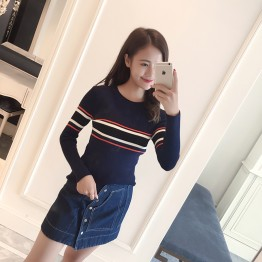 8819 preppy style tripes sweater
