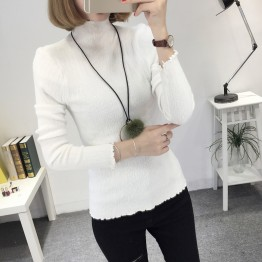 8085 slim high collar Korean long sleeve sweater