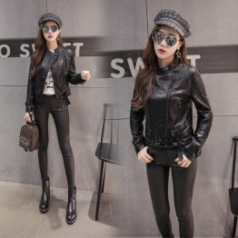 6111 leather women short motorcycle slim women's jacket