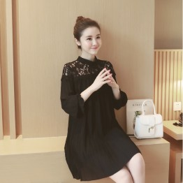 2209 stand collar hollow lace long sleeve chiffon maternity dress