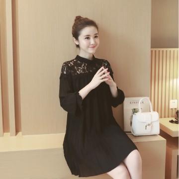 2017 new Korean autumn stand collar hollow lace code long-sleeved chiffon pregnant women skirt dress