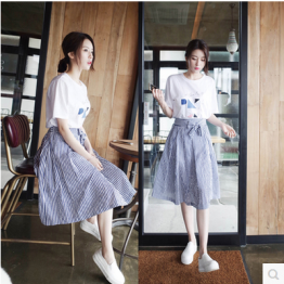 Korean fashion summer white t-shirt with stripes skirt two-piece suit dress