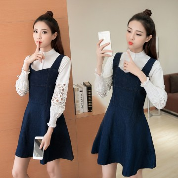5112# Sweet thin A-line suit long sleeve shirt + denim strap skirt two-pieces
