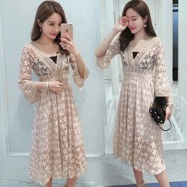1790 lace V-neck lace maternity dress (with tube top)