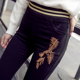 1769 Autumn embroidery pencil leg Leggings