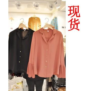 9872 Autumn new pleated flare sleeves lapel shirt female art fan casual wild shirt Korean tights tide