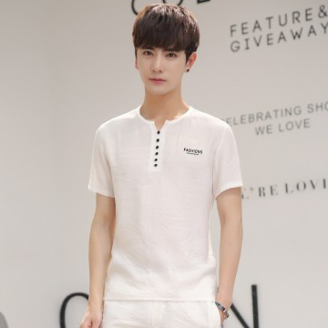 Summer men's linen short sleeve T-shirt printing loose students thin section compassionate breathable cotton and linen jacket men's tide 838