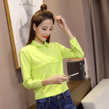 8006 autumn new Korean fashion tassel long-sleeved slim shirt