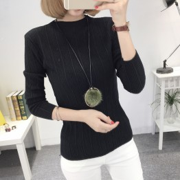 8086 slim semi-high collar Korean fashion long sleeve sweater