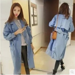909 Korean fashion windbreaker loose large size tie waist knee long denim jacket
