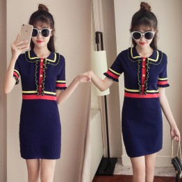 6228 POLO collar Knitted ice silk dress
