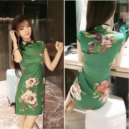 3393 sexy  retro style short sleeve cheongsam dress