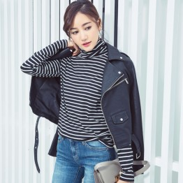 3641 autumn Korean fashion stripes high collar long-sleeved T-shirt