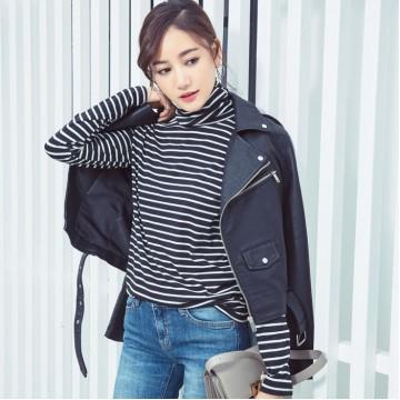 3641 autumn Korean fashion stripes high collar long-sleeved T-shirt