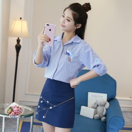 1819 new five-point sleeve dolls Korean fashion embroidered bat sleeves loose shirt