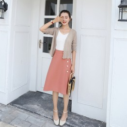 5001 autumn art empire waist single row buckle skirt