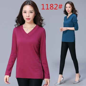 Autumn Korean version of loose jacket women v collar cotton casual bottoming shirt open long sleeves female t-shirt