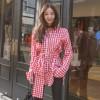 Spot 17 spring elegant chic design feel waist red plaid shirt shirt 6157