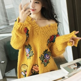 1912 retro long-sleeved V-neck torn tassel flowers embroidered loose knitted sweater