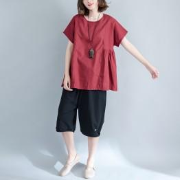 8791 Large size women flax art simple waist shrink bat shirt
