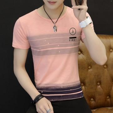 3041 Men 's Korean fashion  short - sleeved stripes t-shirt