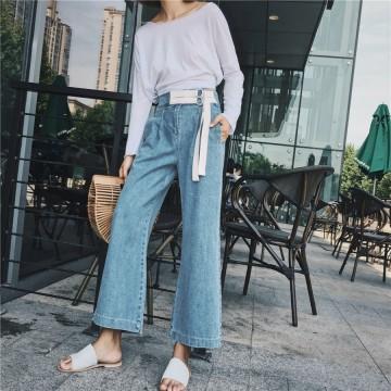 2720 European station 2017 new denim wide leg pants female summer loose high waist decorated belt straight jeans