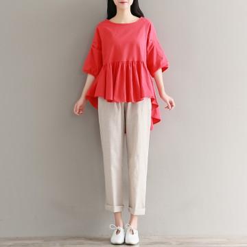 1930 real shot 2017 autumn cotton linen loose thin striped drawstring harem pants casual pants long pants