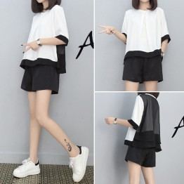 5623 Korean fashion loose color matching shirt with shorts