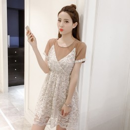 7191 Korean loose short sleeve T shirt with v neck lace dress