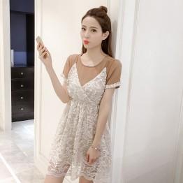 7191 # Korean loose short sleeve T shirt + lace harness dress fairies two sets