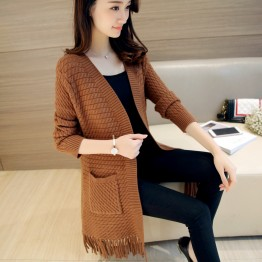 6055 Korean fashion long sleeves tassel sweater