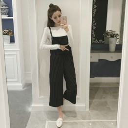 839 elastic waist temperament suspender wide leg pants