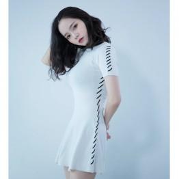 Tie knit dress ladies Slim Han Chao small black dress 072