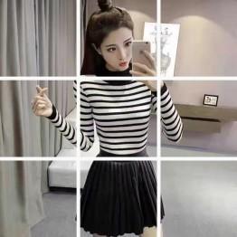 660 Korean fashion semi-high collar sweater striped knit bottom shirt